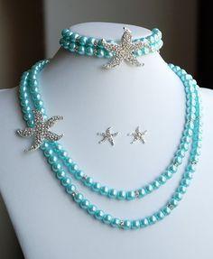 Bridal Pearl Rhinestone Necklace Bracelet Earring Crystal STARFISH Beach Wedding Jewelry Something Blue Teal Tiffany ST005LX on Etsy, $115.00