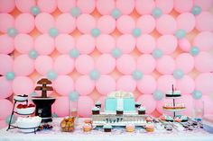 Tiffany blue and pink elegant rooftop baby shower for sofie dessert table with balloon flower backdrop wall