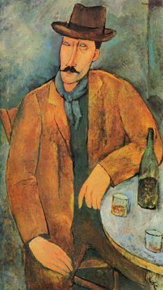 Amedeo Modigliani -  Man-with-a-Glass-of-Wine