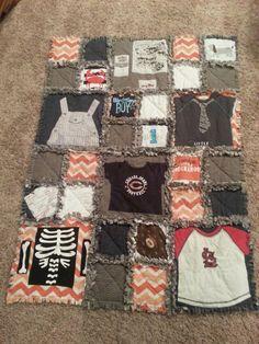 Keepsake Baby Clothes Blanket Custom T-Shirt Quilt Baby Memory Quilt, Baby Quilts, Memory Quilts, Baby Clothes Blanket, Babies Clothes, Keepsake Quilting, Baby Memories, Baby Keepsake, Rag Quilt