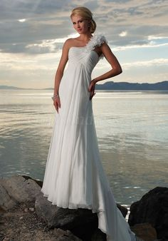 One Shoulder, long, flowy, Wedding Dress