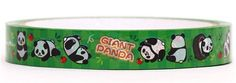 green checked panda bear apple animal deco tape sticky tape