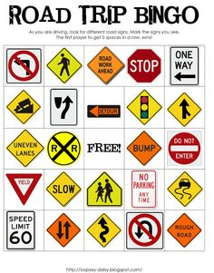 3 FREE Printable Road Trip Bingo Cards~ one with different color vehicles, signs (pictured) and different type of transportation.