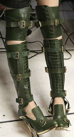 Prabal Gurung | shoes | heels | boots | above the knee high booties | green lace up with buckles | fierce |