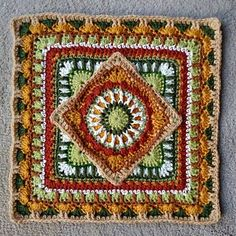 The Jackfield Tile Square Motif By Christine Bateman - Free Crochet Pattern - (ravelry) Crochet Circles, Crochet Mandala, Crochet Motif, Free Crochet, Crochet Squares Afghan, Granny Square Crochet Pattern, Granny Squares, Crochet Pillow Pattern, Afghan Crochet Patterns