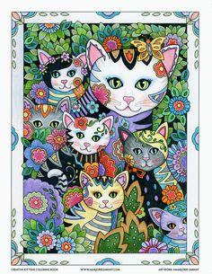 Mom and Kitties – Art and coloring ©Marjorie Sarnat