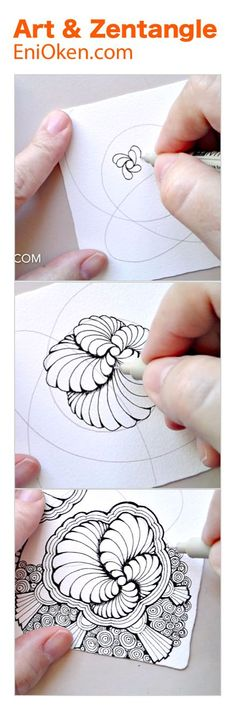 Learn how to create beautiful showgirl zentangle® with this hour Doodles Zentangles, Tangle Doodle, Zentangle Drawings, Doodle Drawings, Doodle Art, How To Zentangle, Zantangle Art, Zen Art, Doodle Patterns