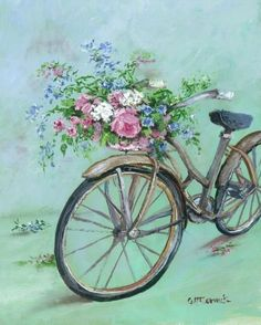 vintage paintings of flower girl image search results Decoupage Vintage, Vintage Diy, Vintage Cards, Vintage Paper, Vintage Postcards, Bicycle Painting, Bicycle Art, Images Vintage, Vintage Pictures