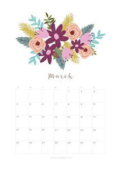 Printable March 2018 Calendar Monthly Planner - Flower Design - A Piece Of Rainbow March Calendar Printable, Excel Calendar, Calendar Layout, Monthly Planner Printable, Holiday Calendar, Print Calendar, Calendar Pages, Calendar Design, Planner Template