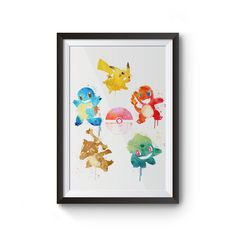 This is Pokemon Watercolor piece featuring Bulbasaur, Charmander, Eevee, Squirtle, and Pikachu. They are loosely representing/inspiring by the five elements wood, fire, earth, water, and metal/thunder