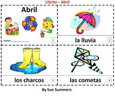 Spanish April - El Mes de Abril 2 Booklets - One with text and illustrations, one with text only so students can sketch and create their own versions of the booklet.