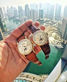 I'm either very brave or very stupid - either way I managed to take this pic without dropping either of these Patek Philippe 1518's 33 floors down  by watchanish