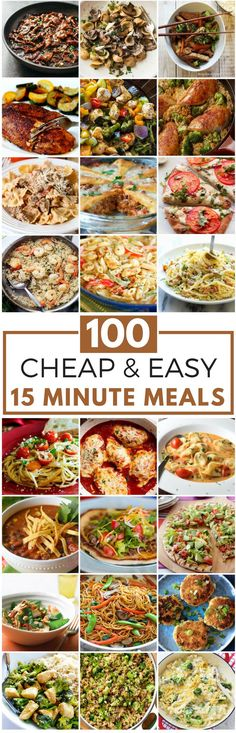 100 Cheap Easy 15 Minute Meals quick and easy meals Cheap Easy Meals, Frugal Meals, Budget Meals, Budget Recipes, Cheap Food, Easy Cooking, Cooking Recipes, Healthy Recipes, Budget Cooking
