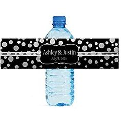 """100 Silver Confetti Black Background personalized Wedding Water Bottle Labels Engagement Party 8""""x2"""""""