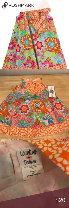 Counting Daisies Dress Girls summer dress with bow on the collar and butterfly accents Counting Daisies Dresses