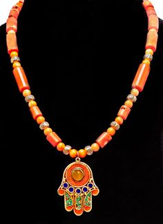 Moroccan Hamsa and Angel Skin Coral by SilkRoadJewelry on Etsy