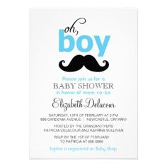 Oh! It's a Boy in Blue, illustrated with a mustache on a Baby Shower Invitation card.