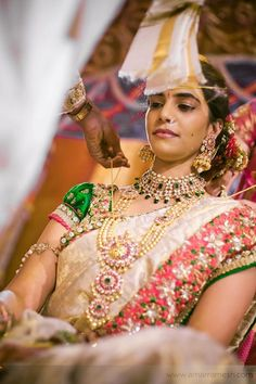 Desi Indian bride dulhan make up lehenga south indian