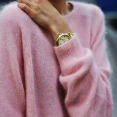 pink sweater || gold watch