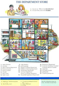 THE DEPARTMENT STORE - Pictures dictionary - Repinned by Chesapeake College Adult Education Program. Learn and improve your English language with our FREE Classes. Call Karen Luceti 410-443-1163 or email kluceti@chesapeake.edu to register for classes. Eastern Shore of Maryland. . www.chesapeake.edu/esl