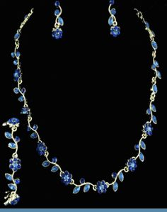 3PC Royal Blue Rhinestone Floral Necklace, Bracelet & Earrings Accented in Silvertones .. Comes in Assorted Colors $20 @ www.whimzaccessories.com