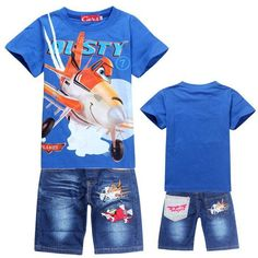 Pixar Airplane Planes Dusty Plane 2 piece kids clothing youth toddler child set tee t-shirt and denim pants