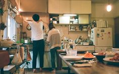 Most popular tags for this image include: love, couple, kitchen and vintage