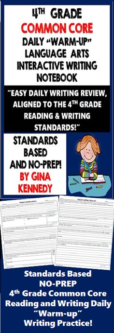 """4th Grade Common Core Daily Writing and Reading Skill Review! This resource includes a daily reading and writing skill warm-up for every day of the week. The template covers almost all of the reading and writing standards with engaging questions such as """"causes and effects"""" at recess, a """"theme"""" for the past weekend or using a prepositional phrase to describe last night's dinner. This interactive notebook can be used weekly, monthly or for weeks leading up to their state reading exam. $"""
