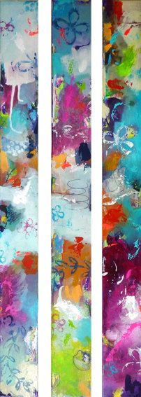 3 parts Original abstract painting, modern art, acrylic paintings, turquoise orange pink blue white long painting, BEST THINGS of my LIFE on Etsy, €104,12