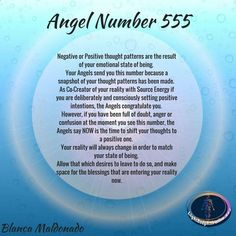 Angel Number Negative or Positive thought patterns are the result of your emotional state of being. Your Angels send you this number because a snapshot of your thought patterns has been made. Angel Guidance, Spiritual Guidance, Spiritual Awakening, Spiritual Life, 555 Angel Numbers, Angel Number Meanings, 555 Meaning, Numerology Chart, Numerology Numbers