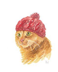 Original Cat Watercolor - Nursery Art, Cat Illustration, Knit Hat, Orange Cat.