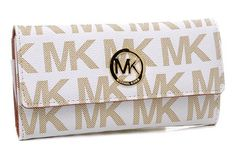 Michael Kros Monogram Circle Logo Purses White/Beige