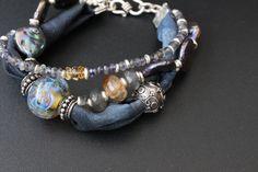 Lampwork beads, silver, Thai silk, pearls, labradorite, iolite, agate