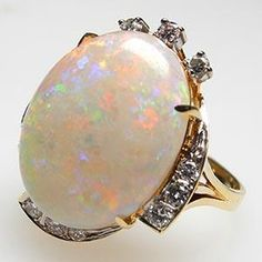 opal rings | Home Vintage Natural White Opal & Diamond Cocktail Ring Solid 14K Gold