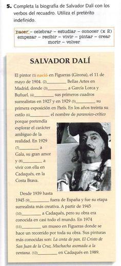 Ejercicio : completa la biografía de Salvador Dalí