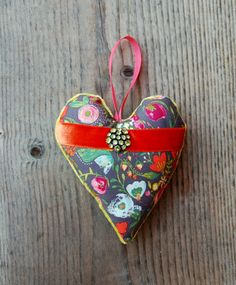 Handmade Heart Ornament Floral Cotton by GreenLeavesBoutique