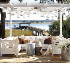 [Pottery Barn - WEATHERBY SOFA & SECTIONAL] - LOVE LOVE LOVE IT ALL!!!! Pergola could be on back deck with a rug under and barrels could also be would!!!! - rugged-life.com