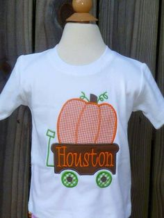 Personalized Wagon with Pumpkin Applique Shirt or Onesie for Boy or Girl on Etsy, $25.00