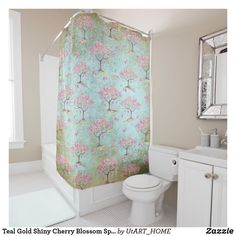 Teal Gold Shiny Cherry Blossom Spring Pattern Shower Curtain