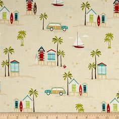 Riley Blake Offshore Main Tan from @fabricdotcom  Designed by Deena Rutter for Riley Blake, this cotton print fabric is perfect for quilting, apparel and home decor accents. Colors include brown, red, pink, shades of blue, green, grey, tan and white.