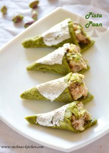 pistachio pann recipe: Pistachio or pista paan is a very interesting dessert. As it's name suggests, it comprises pista /pistachio and paan and a perfect combination of these two ingredients. Pista barfi sheet is rolled out thinly and given a cone shape l Indian Dessert Recipes, Indian Sweets, Sweets Recipes, Fun Desserts, Holi Recipes, Fruit Recipes, Delicious Desserts, Recipies, Kitchen Recipes