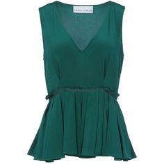 PRABAL GURUNG Top ($335) ❤ liked on Polyvore featuring tops, blouses, shirts, blusas, green blouse, shirt blouse, green top, v neck shirt and v-neck tops