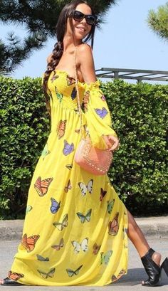 Butterfly Print Yellow Maxi Dress                                                                             Source