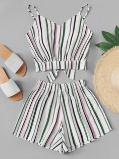 Striped Knot Back Cami Top With Shorts -SheIn(Sheinside) Girls Fashion Clothes, Summer Fashion Outfits, Cute Fashion, Look Fashion, Spring Outfits, Girl Fashion, Cute Girl Outfits, Cute Summer Outfits, Cute Casual Outfits