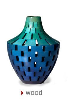 """""""New Eden Vase"""" Wood Sculpture  Created by Joel Hunnicutt Hand built vessel from many small pieces of wood. Turned to final shape. Dyed and ..."""