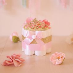 Pink & Gold Princess MINI Diaper Cake / Baby Shower Centerpieces decorations / Girls Room Nursery Decor / New mom unique gifts / Tiara Crown Diaper Centerpiece, Diy Baby Shower Centerpieces, Girl Baby Shower Decorations, Princess Centerpieces, Unique Centerpieces, Baby Shower Simple, Cute Baby Shower Ideas, Baby Ideas, Baby Shower Gift Bags