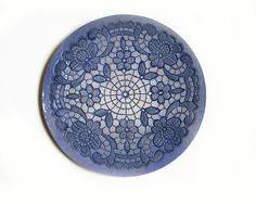 blue wall mandala lace ceramic plate www.etsy.com/de/shop/ceralonata