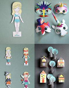 Adorable printable paper dolls, masks, crowns, and play things.  Smallful Signature Bundle   Smallful