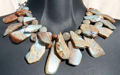 Winter Twilight Snakeskin Jasper Bib Necklace, silver plated, blue, rust, tan, brick, egg shell, stone, statement, rustic