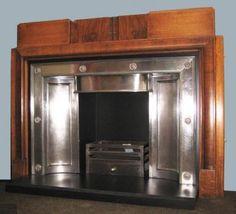 Antique 1930s Art Deco Fireplace